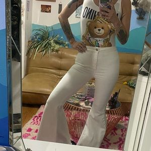 WHITE FLOAT ON bell bottom jeans Free People